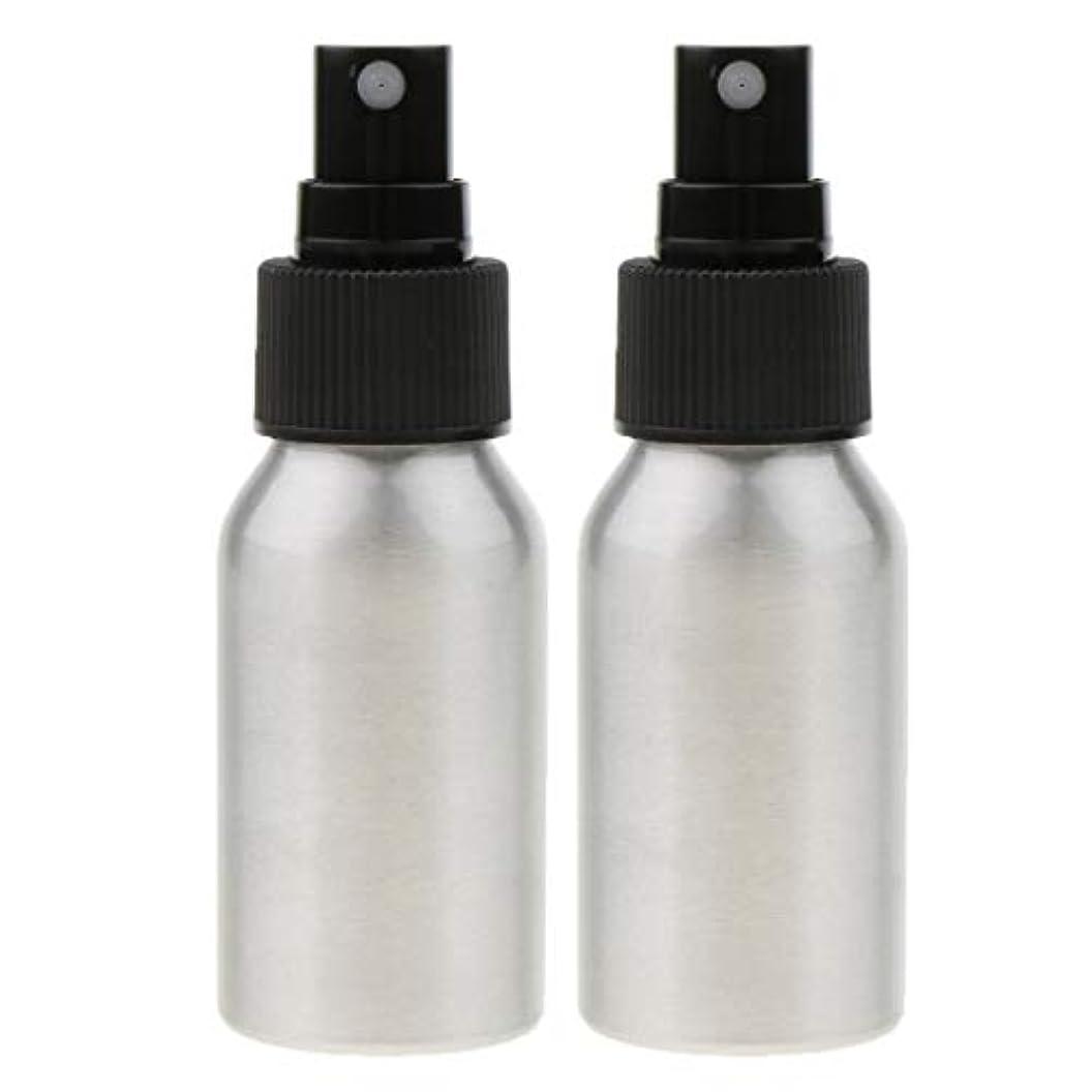 KESOTO 2個 メイクアップボトル アルミスプレーボトル アルミ 空ボトル 詰め替え可能 香水ボトル 2色選べ - ブラックキャップ