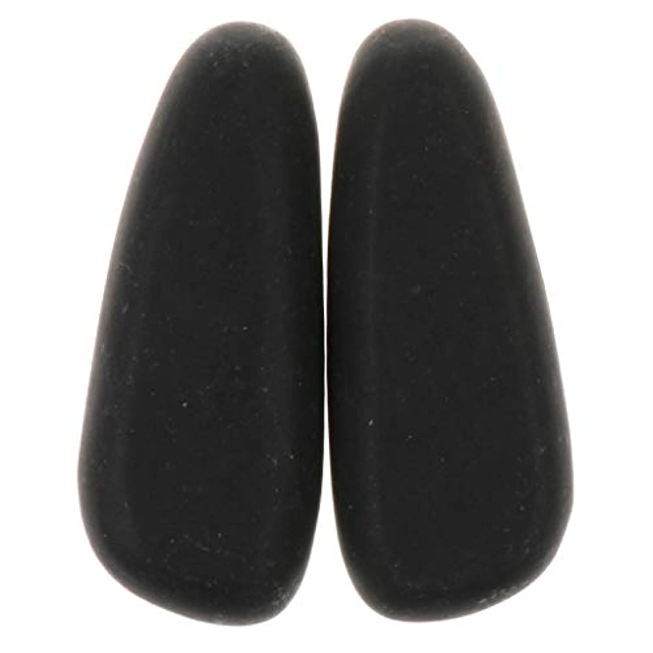 槍乙女批判Hellery マッサージストーン 天然石ホットストーン マッサージ用玄武岩 SPA ツボ押しグッズ 2個 全2サイズ - 8×3.2×2cm