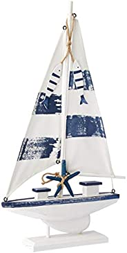 Wood and Canvas Sail Boat - Blue/White (M)