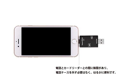 『カードリーダー USB 3.0 iPhone SD対応,JULYFOX 読み込み リーダー 512GB SD 256GBまいくろSD対応 iPhone iPad MAC PC すまほ対応 USB3.0 5GPSで超高速データ転送 あいふぉん バックアップ(ブラック)』の5枚目の画像