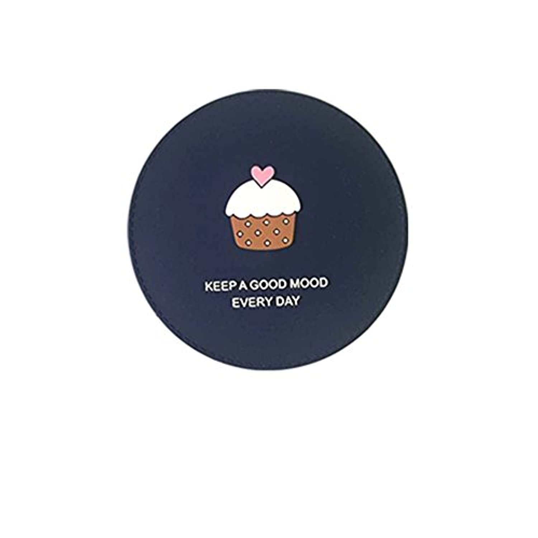 HuaQingPiJu-JP ミニラウンド漫画パターン小さなガラスミラー工芸品の装飾化粧品の円ロイヤルブルー