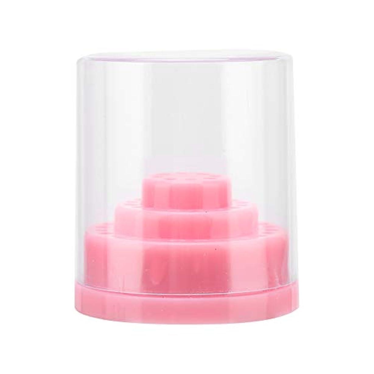 ネイルドリルビット、48スロットネイルドリルビット機器ケースホルダーマニキュアツールオーガナイザーディスプレイスタンド(ピンク)