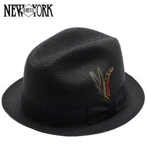 (ニューヨークハット)New York Hat SEWN STINGY FEDORA Black XL ソウンスティンギーフェドラ ストローハット ブラック 麦わら帽子 XLサイズ #2327