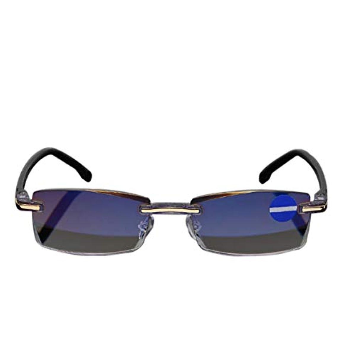 小麦粉ポゴスティックジャンプメリーIntercoreyリムレスダイヤモンドカット老眼鏡アンチブルーライトおよびブルーフィルム統合された女性男性+1 - + 4全学