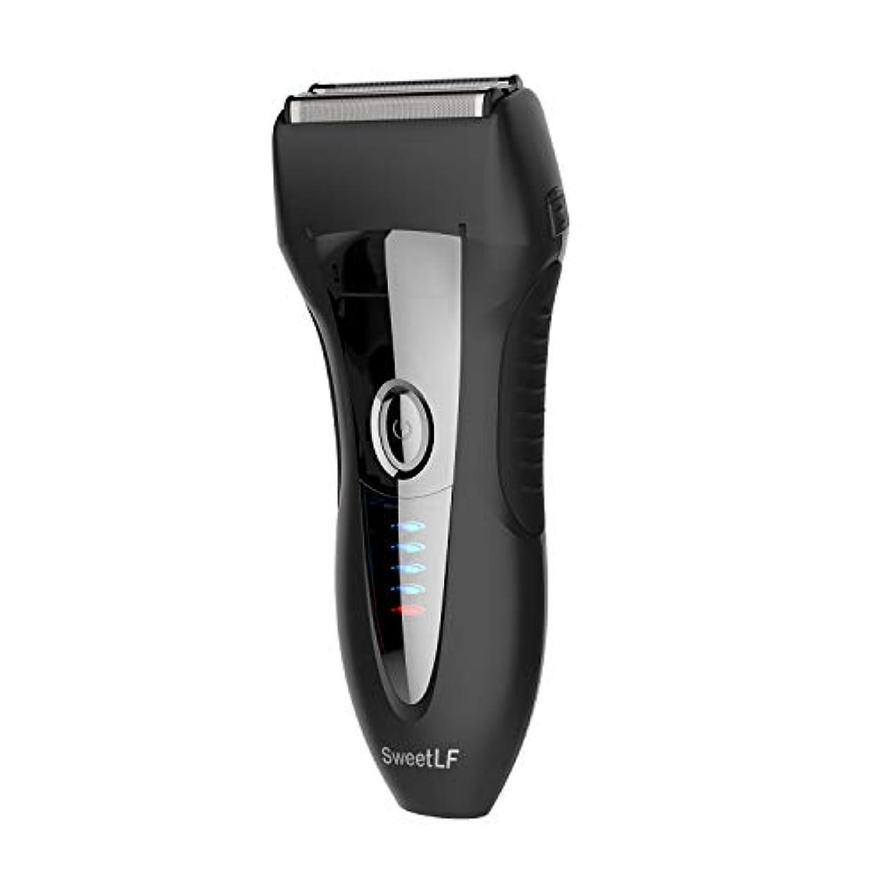 物理的に電気機密SweetLF シェーバー メンズ 電気シェーバー ひげそり 電気カミソリ 往復式 3枚刃 USB充電式 お風呂剃り可 LED電源残量表示 トリマー付き