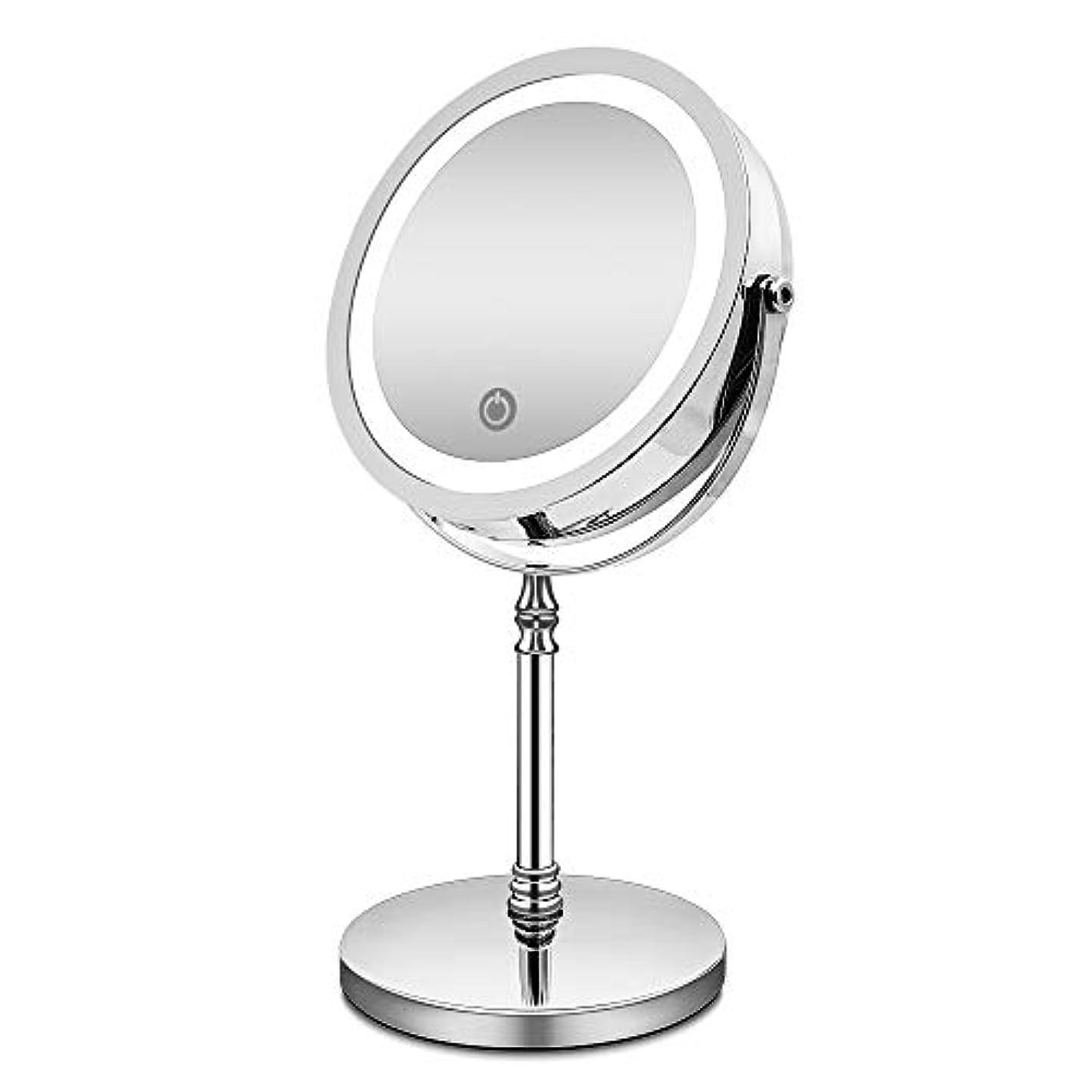 ヤング契約したクリーム化粧鏡 10倍 拡大鏡 付き led ミラー LED 両面 鏡 卓上 スタンドミラー メイク 3 WAY給電 曇らないミラー 360度回転 北欧風 電池&USB 日本語取扱説明書付き (改良版)