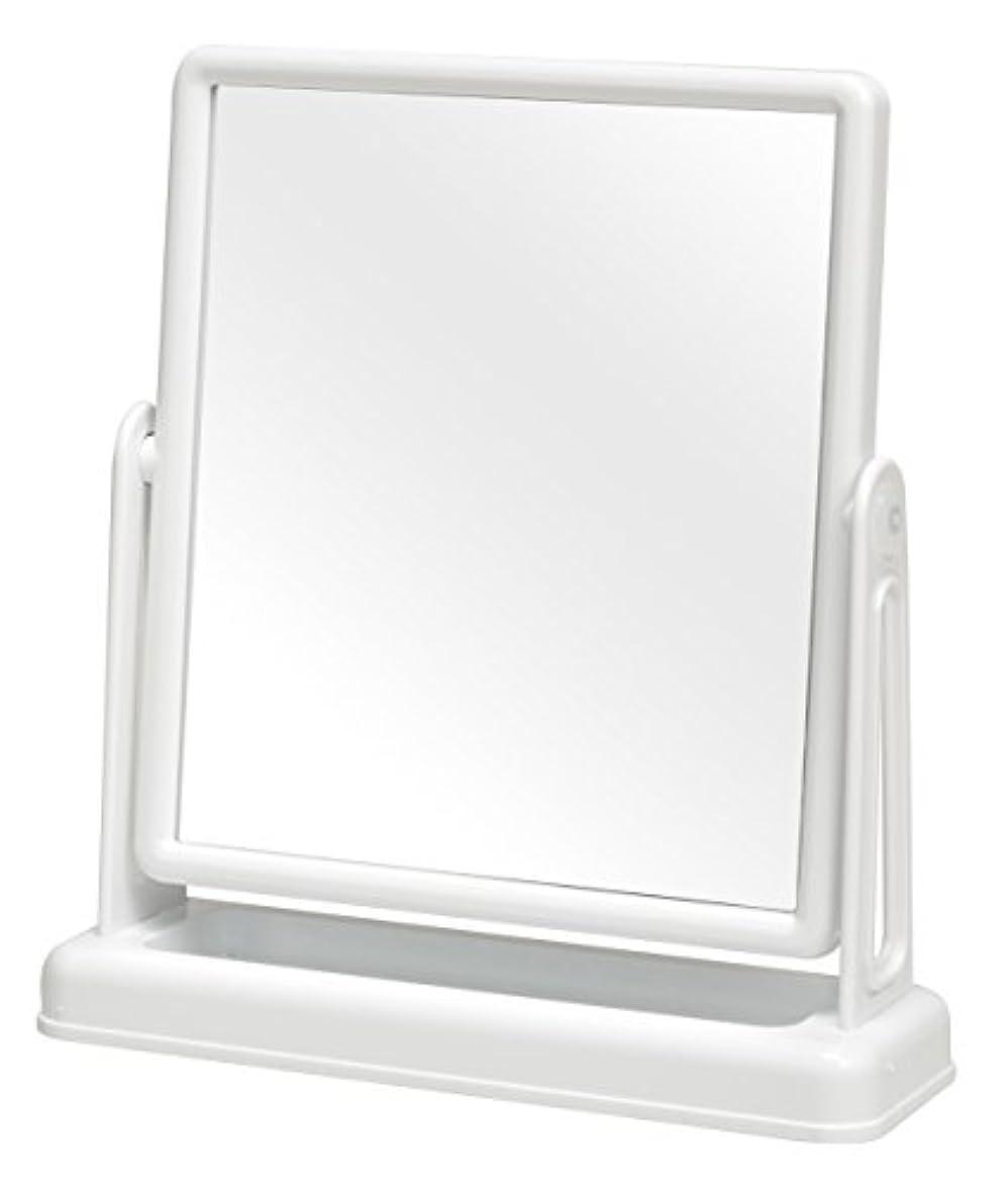 見つける仮装慣れている永井興産 スクエア卓上ミラー ファイン ホワイト 約 幅25.5×奥行8×高さ28cm
