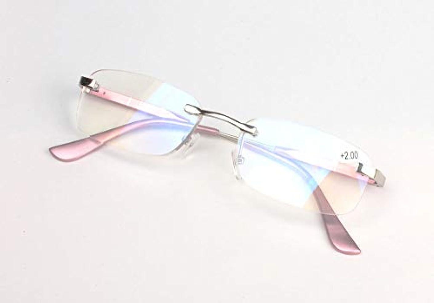 FidgetGear アルミフレームレス+1.0?+3.5軽量老眼鏡リーダークリアレンズ ピンク
