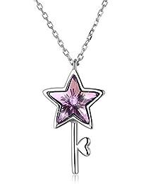 DAZZARRY 星鍵ネックレスレディース スワロフスキークリスタル ペンダント ジュエリーアクセサリー プレゼントチェーン40+3cm