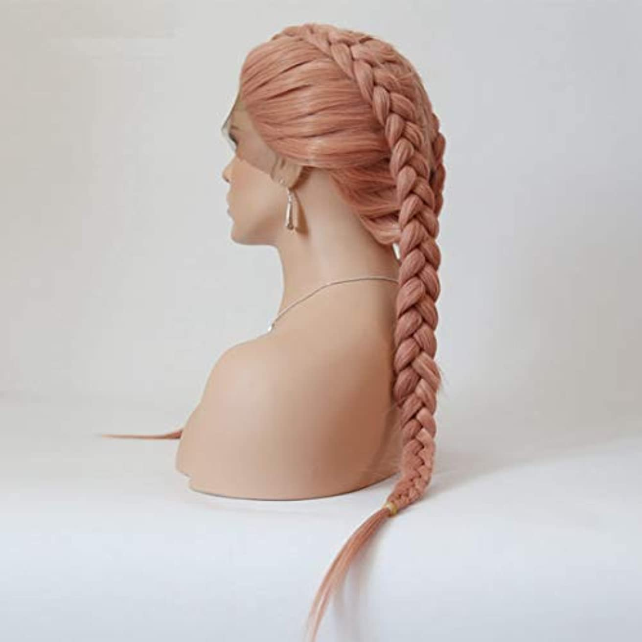 処方する事ダウンJIANFU スコーピオン汚れたウィッグフロントレースウィッグ女性のヨーロッパとアメリカのロングストレートヘアピンクケミカルファイバーヘア (サイズ : 18 inches)