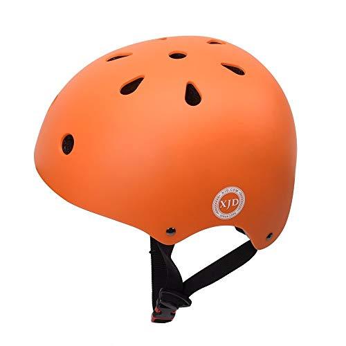 XJD ヘルメットこども用 キッズ 幼児 軽量 通気性 スポーツヘルメット 自転車 サイクリング 通学 スキー 登山 バイク スケートボード 保護用ヘルメット (オレンジ, L(58cm-61cm))