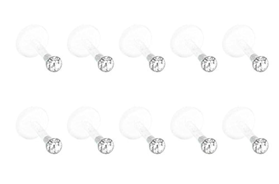 六火山クリスチャンFB 16 GクリアUVらせんフレキシブルアクリルラブレットリップリングトラガス軟骨イヤリングスタッドバーベルピアスジュエリー