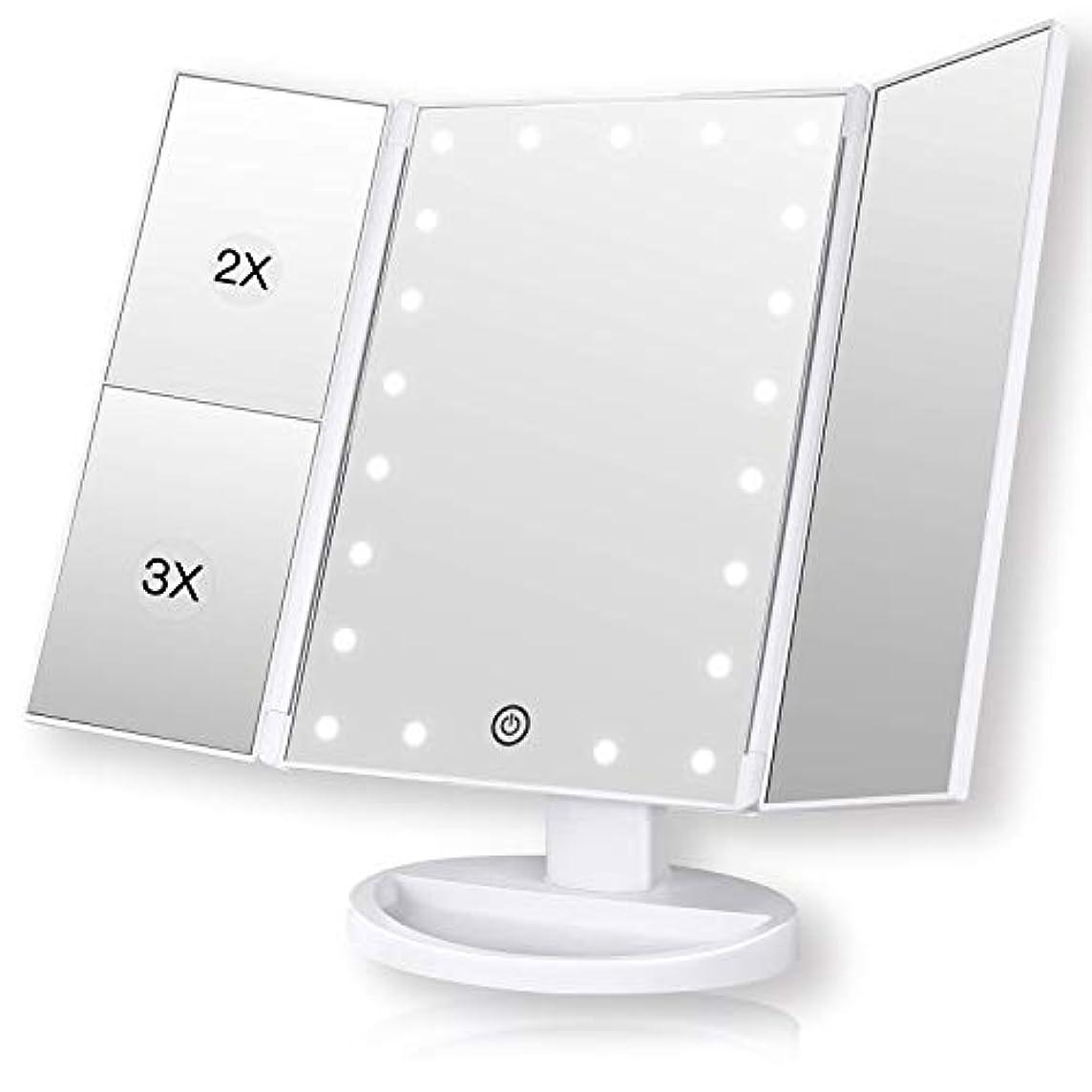 子供達チェリーやけどROZZERMAN 化粧鏡 卓上ミラー 三面鏡 ledライト 女優ミラー 折りたたみ 持ち運び 拡大鏡 2倍 3倍 角度調整