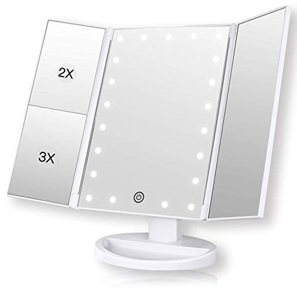 ROZZERMAN 化粧鏡 卓上ミラー 三面鏡 ledライト 女優ミラー 折りたたみ 持ち運び 拡大鏡 2倍 3倍 角度調整