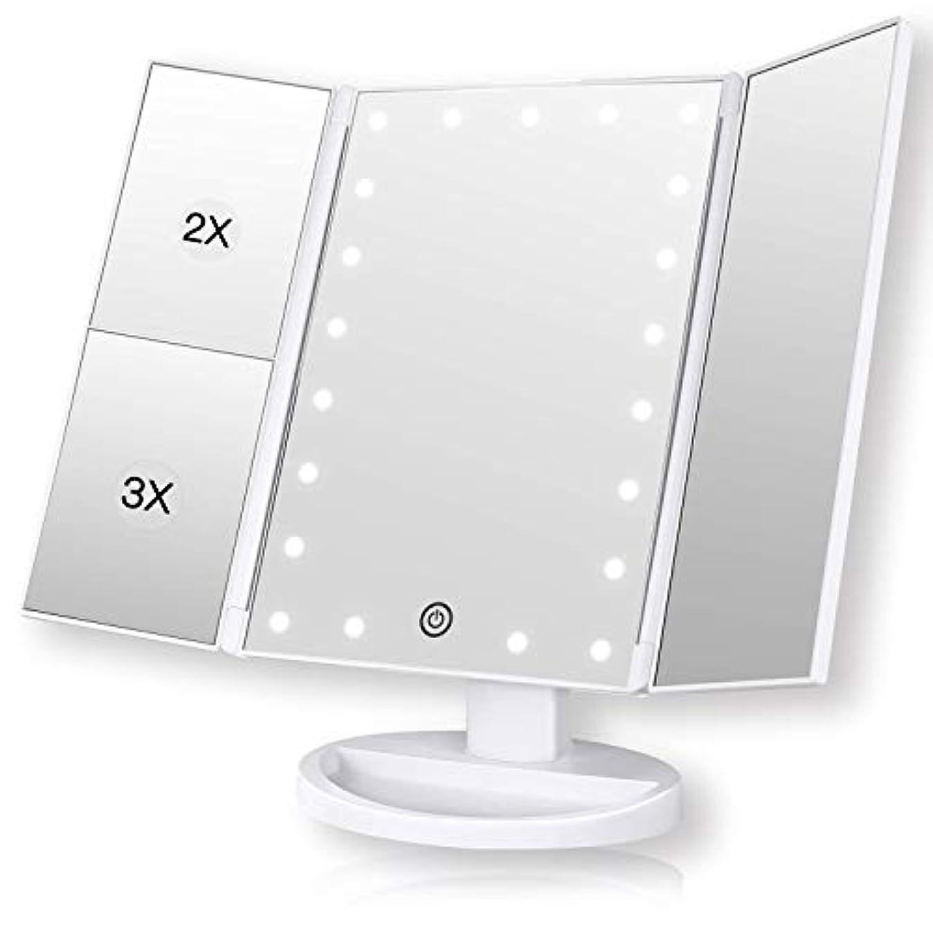 コークス受取人水曜日ROZZERMAN 化粧鏡 卓上ミラー 三面鏡 ledライト 女優ミラー 折りたたみ 持ち運び 拡大鏡 2倍 3倍 角度調整