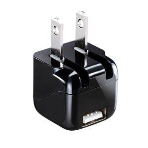 サンワサプライ 超小型USB充電器(1A出力・ブラック)