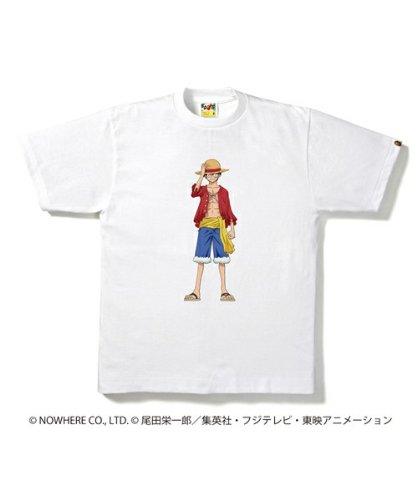 BAPESTORE限定 BAPE×ワンピース Tシャツ ルフィー M ホワイト ア・ベイシング・エイプ