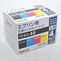 【まとめ 3セット】 ワールドビジネスサプライ Luna Life エプソン用 互換インクカートリッジ IC4CL46 4本パック LN EP46/4P