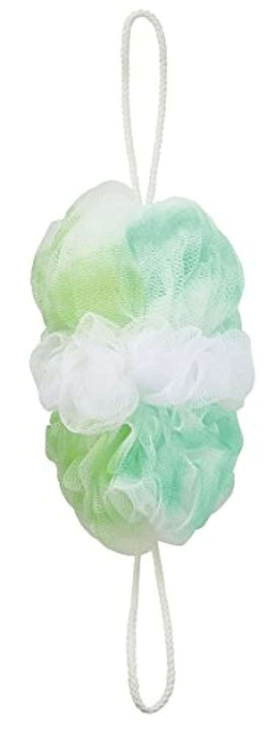 二層無謀下るマーナ ボディースポンジ 「背中も洗えるシャボンボール オーロラ」 グリーン B587G