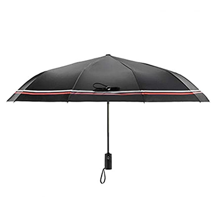 メッセンジャーレガシーフォーカスHOHYLLYA フルオートマチック傘折りたたみ日傘uv保護ストライプパターン屋外旅行日焼け止め傘ポータブルスポーツ傘 sunshade (色 : 黒)
