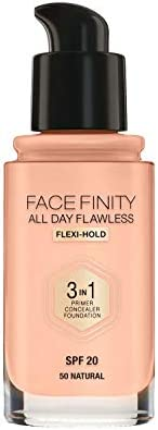 Max Factor Facefinity All Day Flawless 3 in 1 Liquid Foundation, 50 Natural, 30ml