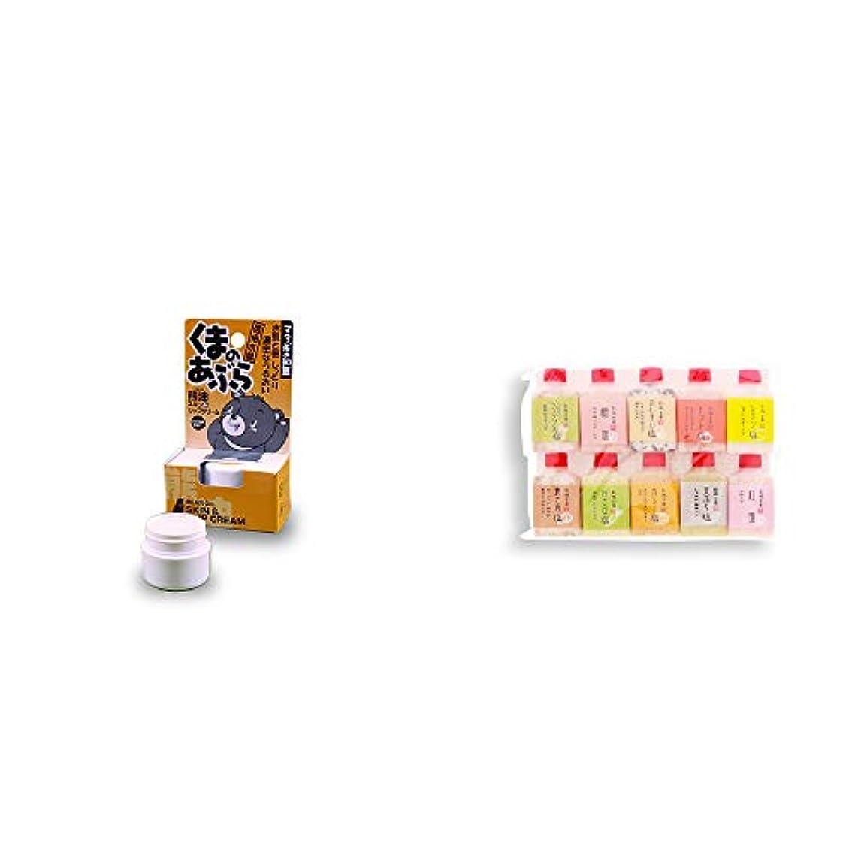 一般食器棚お風呂[2点セット] 信州木曽 くまのあぶら 熊油スキン&リップクリーム(9g)?塩アラカルト(10本セット)