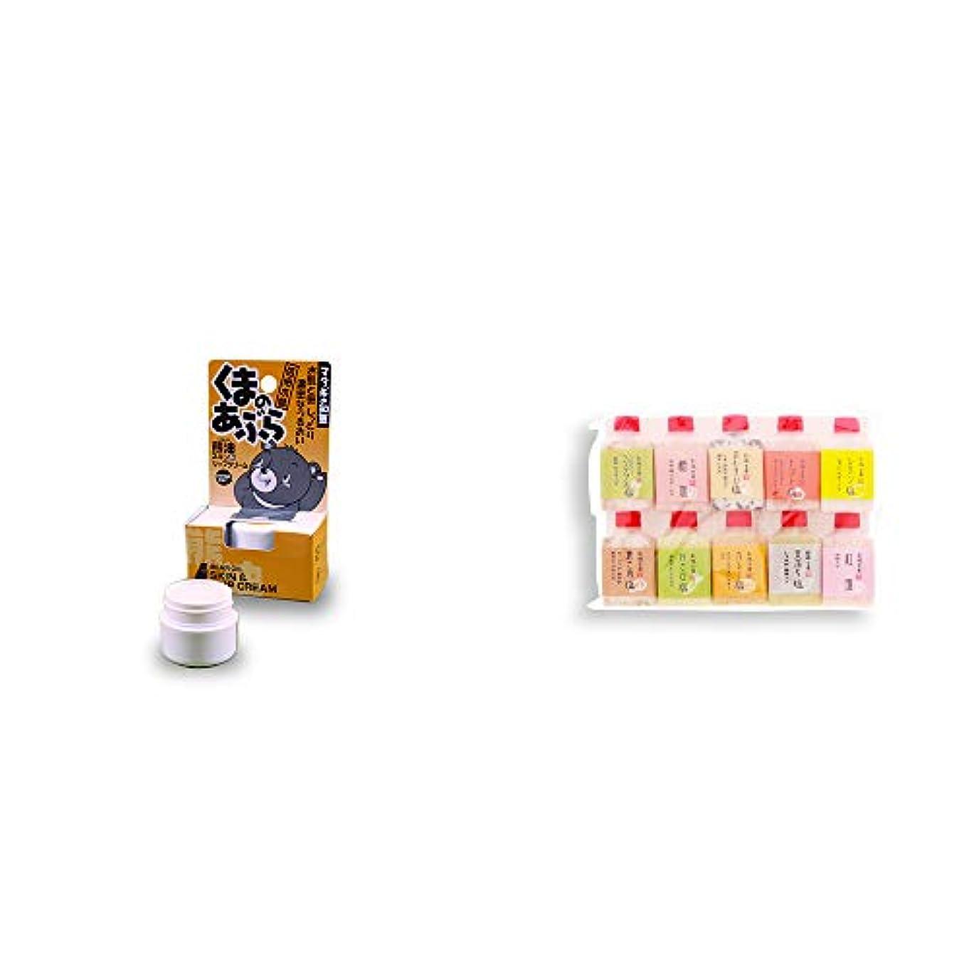 道聴覚障害者ヒロイック[2点セット] 信州木曽 くまのあぶら 熊油スキン&リップクリーム(9g)?塩アラカルト(10本セット)