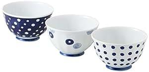 西海陶器 藍丸紋 軽量お好み丼揃え3PC 13305