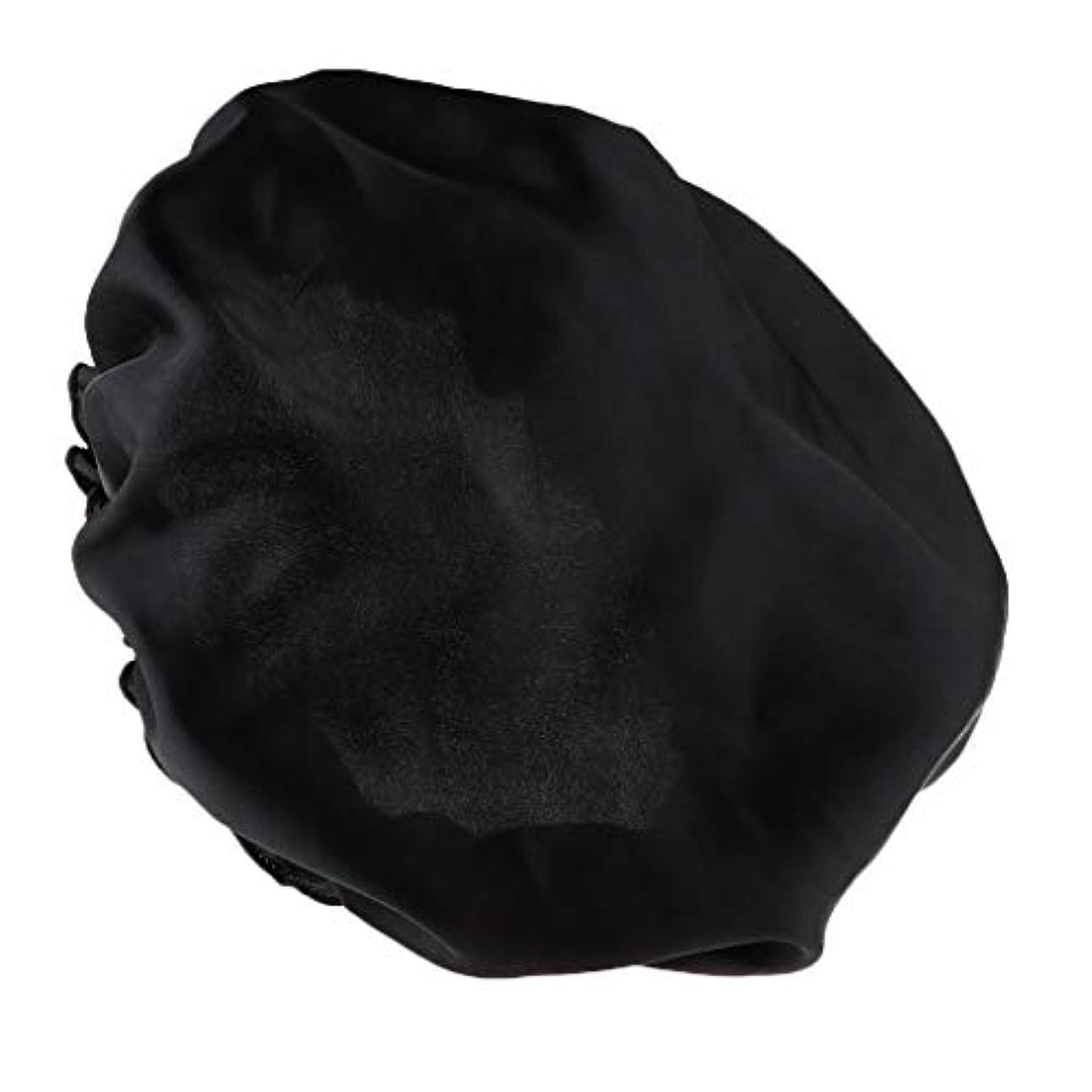 投げ捨てる今日離婚シャワーキャップ シルクサテンキャップ シルクサテン帽子 美容ヘッドカバー 浴用帽子 全8色 - ブラック