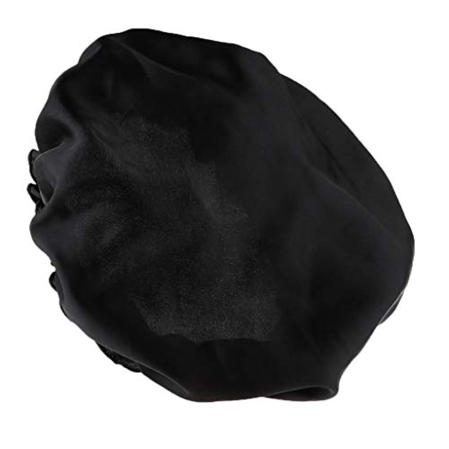 行動冷蔵する外国人FLAMEER シャワーキャップ シルクサテンキャップ シルクサテン帽子 美容ヘッドカバー 浴用帽子 全8色 - ブラック