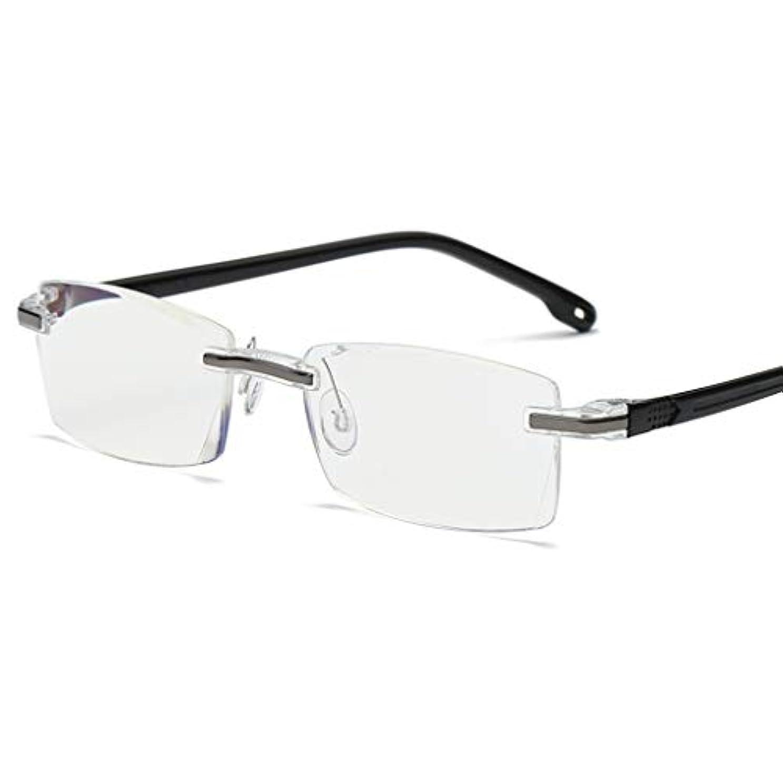 エクステント貧しいオアシス老眼鏡-男性と女性のファッションリーダー縁なし老眼鏡ブルーライトブロッキングメガネアンチグレアと反射防止スクラッチ耐性のコンピュータリーダー(3色あり)