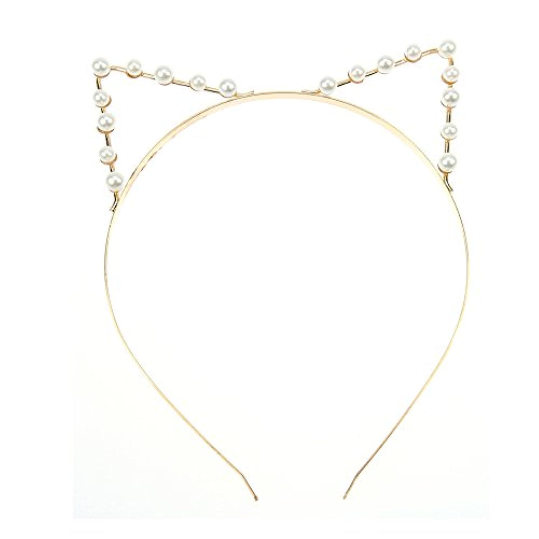 Vi.yo ヘアバンド カチューシャ 猫耳カチューシャ 前耳 アクセサリー 金色 真珠