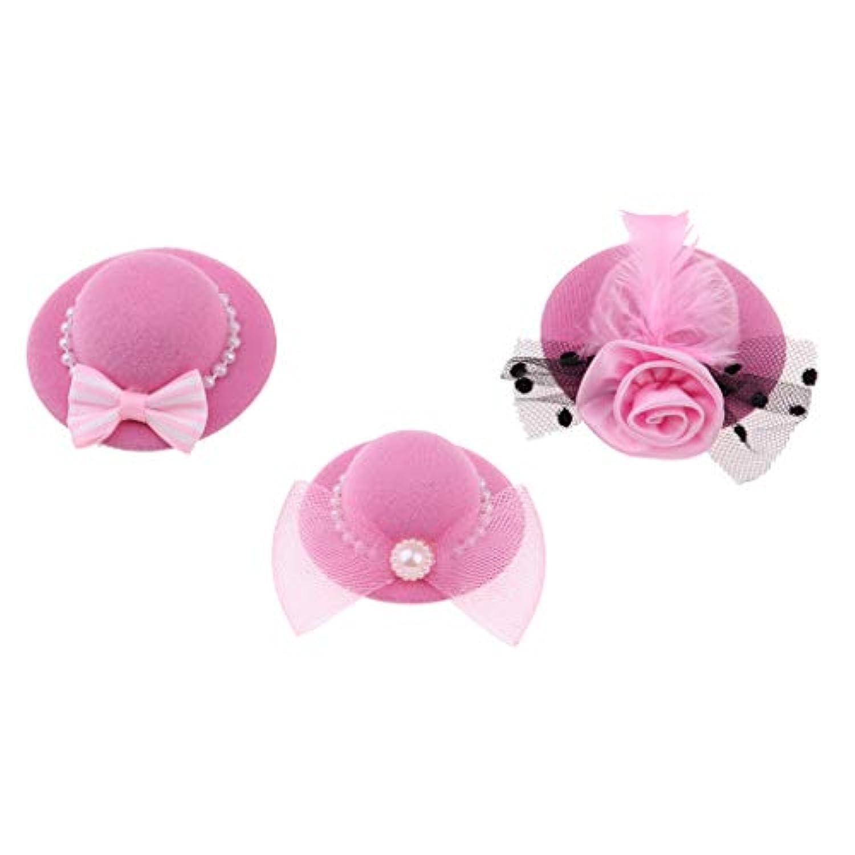 Baoblaze 28-30cmのバービー人形服 アクセサリー 3個 ヴィンテージ ボウラー 帽子 全6色 - ピンク