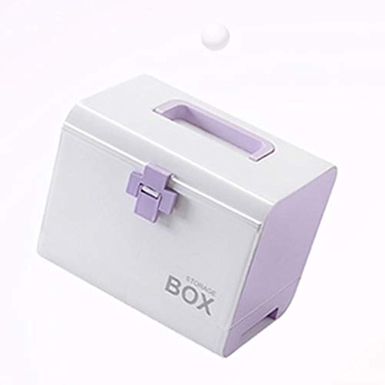 純粋にテープ混乱緊急用バッグ 大型ドラッグ収納ボックス多層救急箱携帯用家庭用薬箱4色(青、緑、ピンク、紫) HMMSP (Color : Purple)