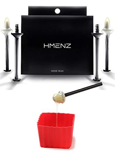 【 信頼の日本製 鼻毛 ワックス 】HMENZ ブラジリアンワックス 鼻毛用 『 シアバター & ホホバオイルで鼻粘膜に優しい 』(ハードワックス ゴッソ リ 脱毛 棒 カップ 付き キット) スティック 24本 12回分