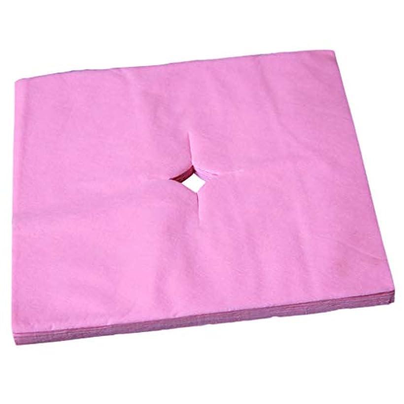 うなずくコック不純dailymall 100ピース/個スパサロン使い捨てマッサージフェイスレストクッションカバークレードルシートクロスカットホール - ピンク