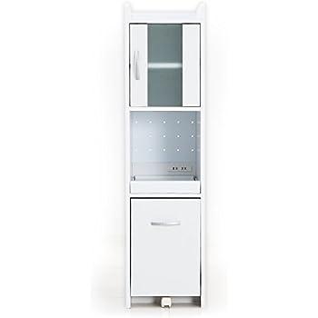 LOWYA (ロウヤ) すきま収納 キッチン収納 スリム 幅32.5cm ミドルタイプ ホワイト おしゃれ