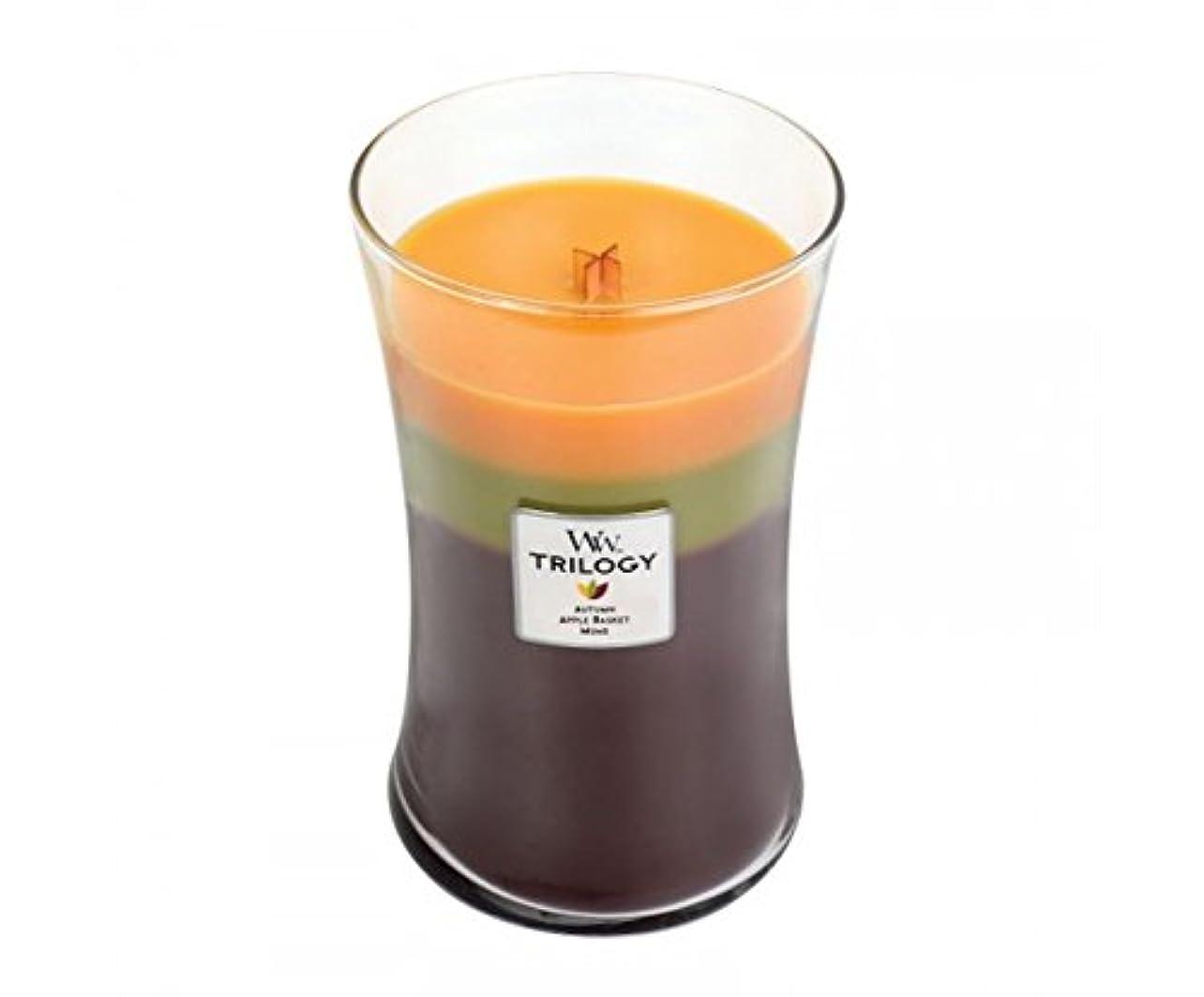 モルヒネ寺院中でWoodwick Trilogy Autumn 93961 Traditions Large Duftkerze Hourglass Glass Multi-Coloured Yellow/Green/Brown, 10.4...