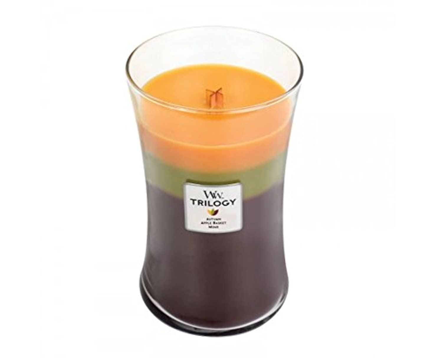 最大限町フェローシップWoodwick Trilogy Autumn 93961 Traditions Large Duftkerze Hourglass Glass Multi-Coloured Yellow/Green/Brown, 10.4...