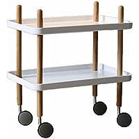 木製の車輪靴ラック、家庭用多機能シューズラックリビングルームベッドサイドテーブルサイドテーブル小さな棚 (色 : 白)