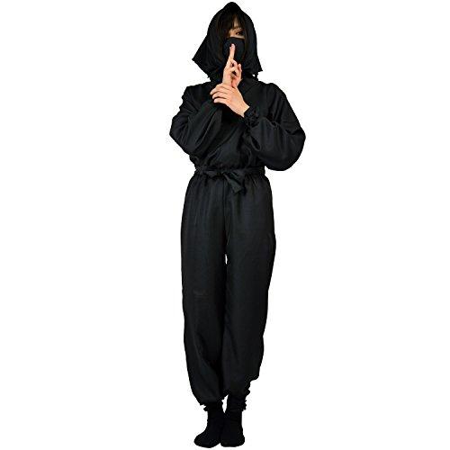 黒装束 忍者 コスチュームセット 170サイズ(Lサイズ対応) 男女兼用