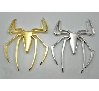 シルバー 蜘蛛 クモ スパイダー 3D 金属 ドレスアップ エンブレム ステッカー