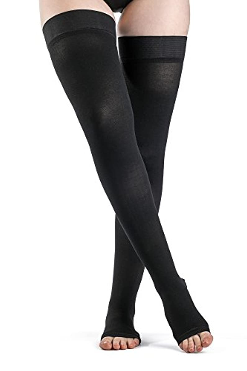 薄いいくつかの降ろすSigvaris Access 973NMLO99 30-40 mmHg Unisex Open Toe Thigh Highs, Black, Medium-Long by Sigvaris