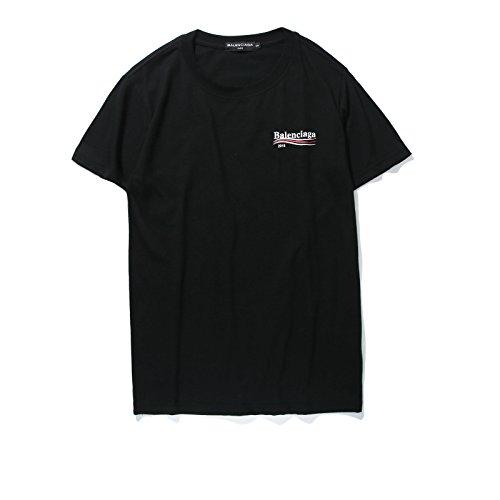 メンズ半袖Tシャツ コットン アウトドア 男女兼用 4色 A (L, black)
