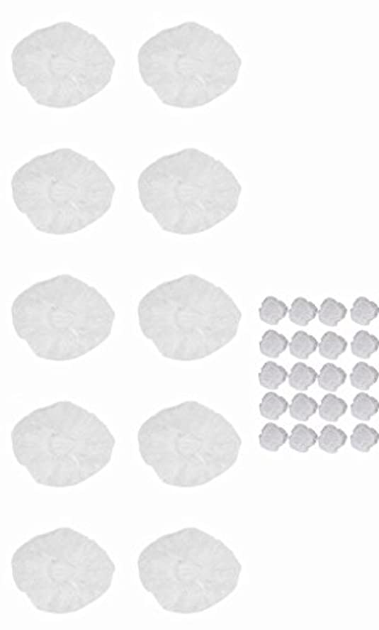 インクケニアメカニック使い捨て イヤーキャップ & ヘッドキャップ 10回分 (ヘアカラー や水濡れ防止に保護に) シャワーキャップ LJ-EC10