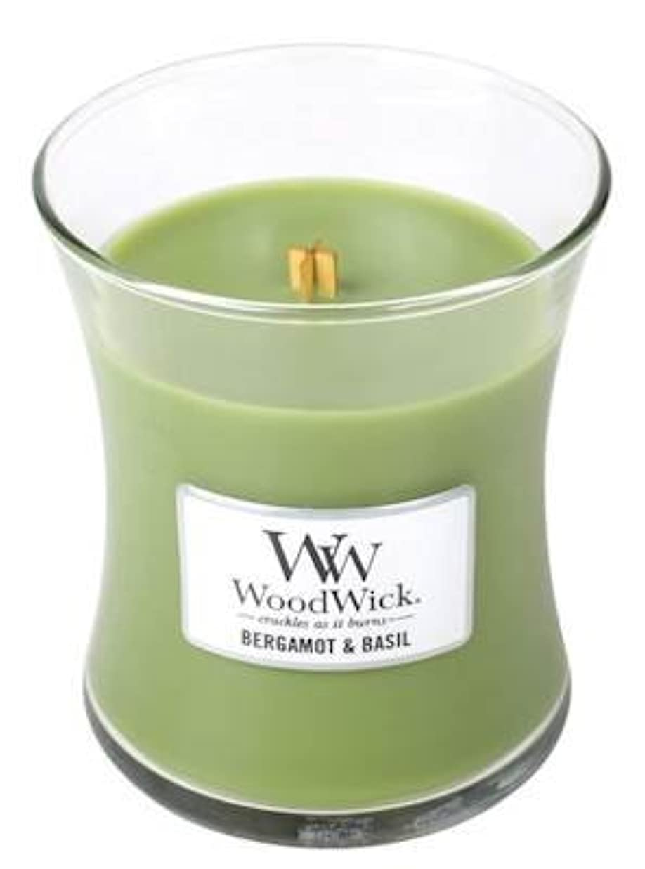 背景甘やかす記録ベルガモットBasil – Woodwick 10oz Medium Jar Candle Burns 100時間