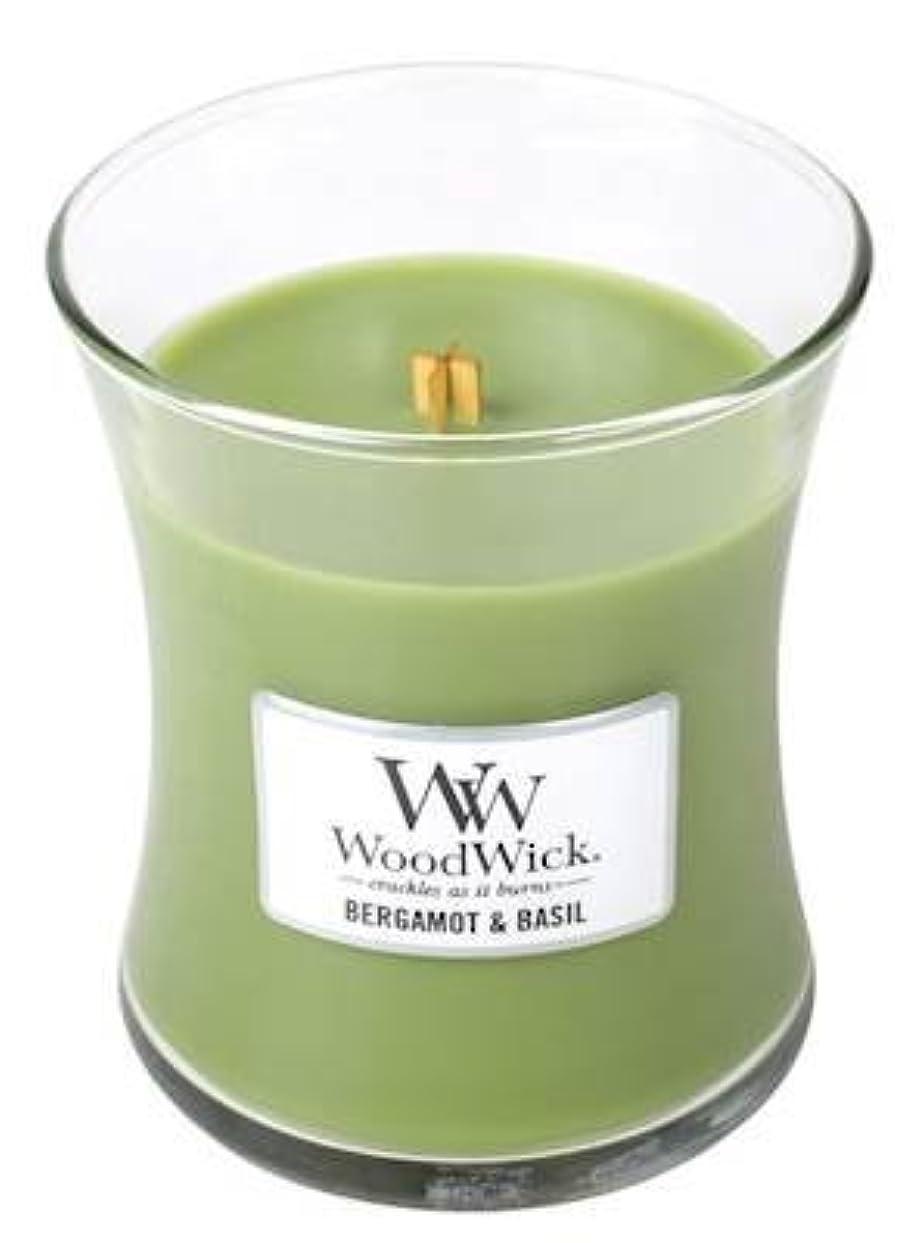 エレガント牧師グリップベルガモットBasil – Woodwick 10oz Medium Jar Candle Burns 100時間