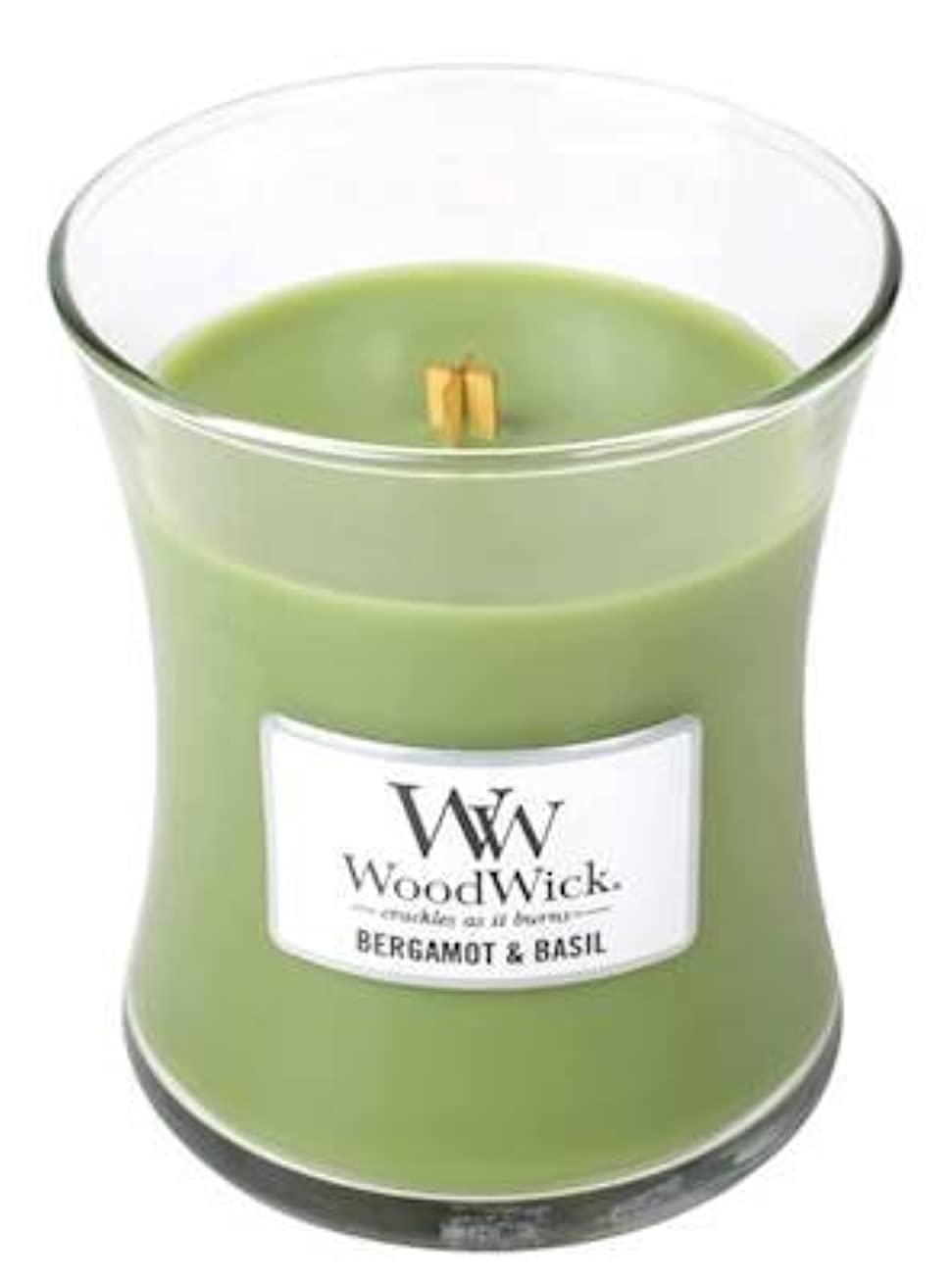 ベルガモットBasil – Woodwick 10oz Medium Jar Candle Burns 100時間