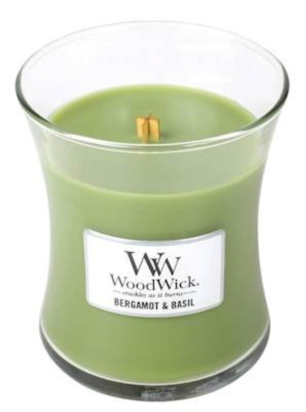 未就学改革クリスチャンベルガモットBasil – Woodwick 10oz Medium Jar Candle Burns 100時間