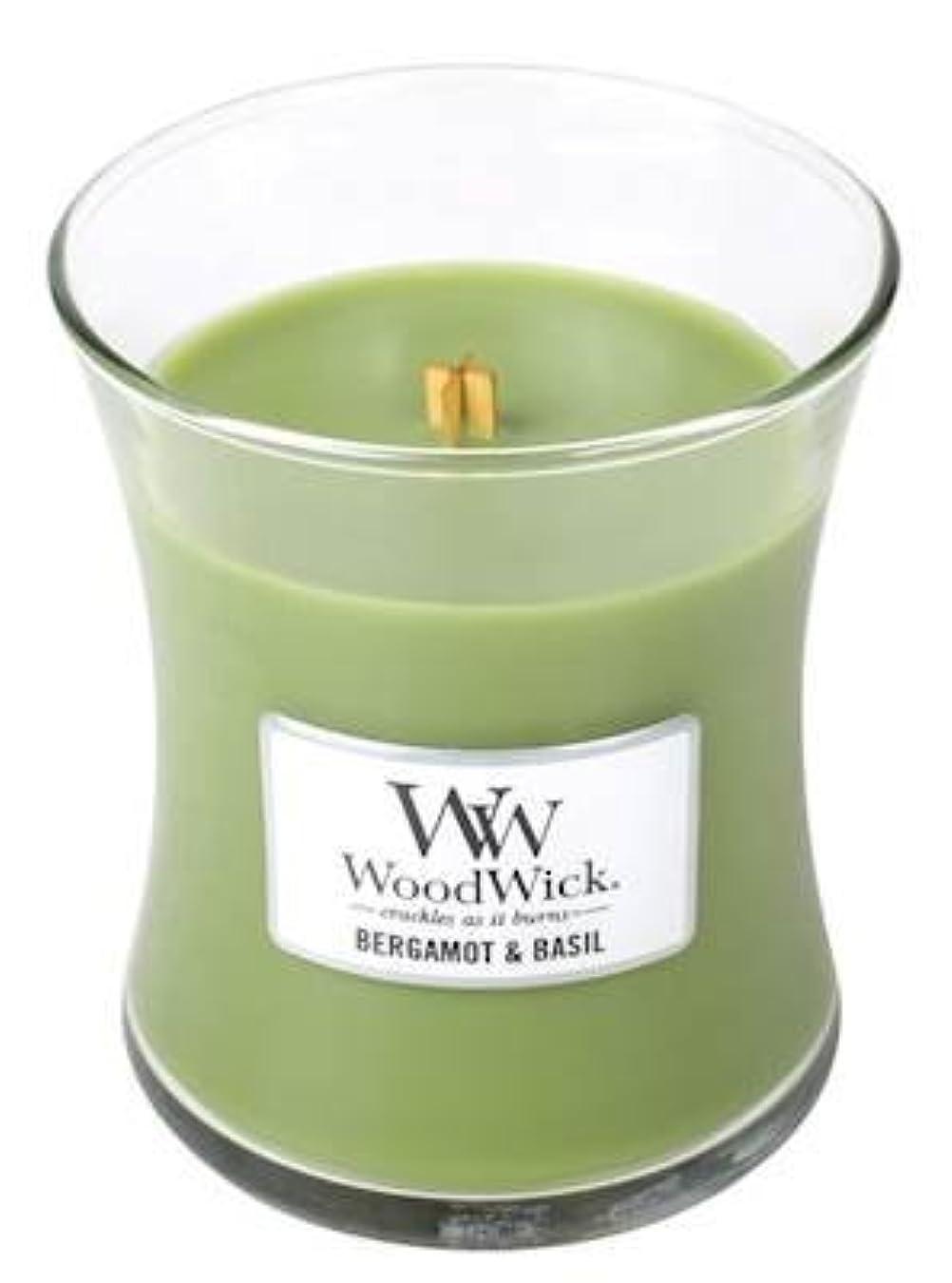 リア王一目バッテリーベルガモットBasil – Woodwick 10oz Medium Jar Candle Burns 100時間